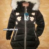 Зимняя удлиненная куртка с капюшоном Листочки рр. 140-160