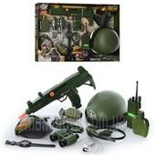Набор военный 33570 бинокль,автомат(трещотка),фляга,рация(зв,свет),каска