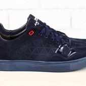 Код: 2303-1 Мужские спортивные туфли темно-синие из натуральной замши