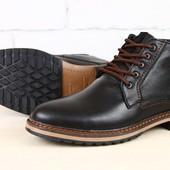 Ботинки мужские кожаные, зимние со шнурками