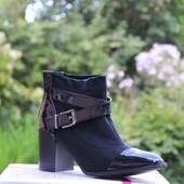 Ботинки текстиль лаковый носок Т7273