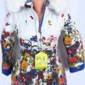 Зимняя курточка-полупальто для девочки 5-9 лет