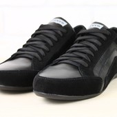 Кроссовки мужские черные, комбинированные: кожа и замша