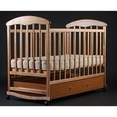 Детская кроватка-качалка с ящиком светлая