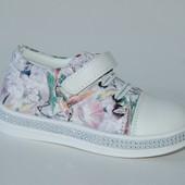 y TOP арт.G91-1 белый.цветы Туфли/ Кроссовки для девочек.