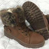 Зимние ботинки, эко-кожа, искусственный мех, маломерять, 37р., 38р.,