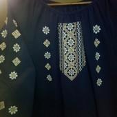 Женская вышиванка,синий шифон