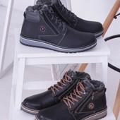 Кожаные мужские ботинки на зиму, разные цвета