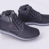 Мужские зимние ботинки, кожа, черно-серого цвета