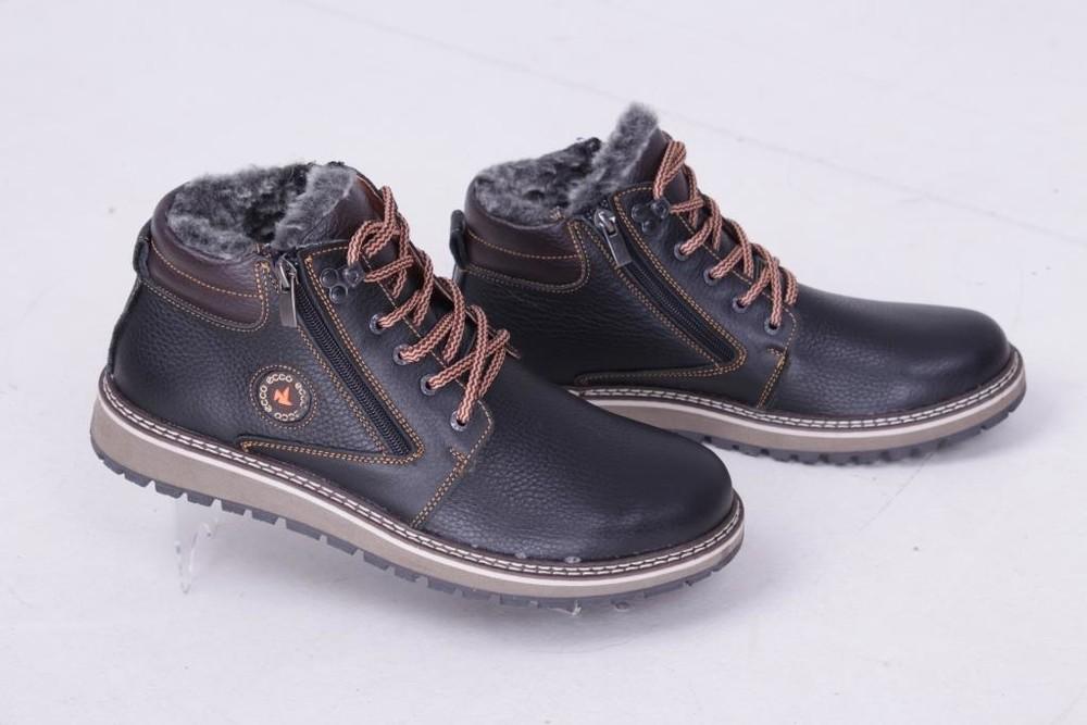 Мужские кожаные ботинки, зима, черно-коричневый глянец фото №1