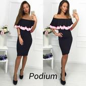 Красивое платье двойной волан. Расцветки.Размер  с-м {
