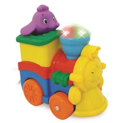 Развивающая игрушка - паровозик слоника (фигурка слоника, свет, звук) фото №1