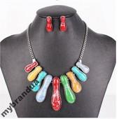 Разноцветный Набор Серьги + Ожерелье