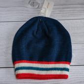 Двойная  вязаная шапочка на мальчика, 50-53 см.