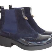 Демисезонные замшевые ботинки, с лакированными вставками