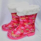 """Сапоги резиновые со съемным мехом, розовые на девочку, цветы, ТМ """"Dual"""", размеры: 28, 29, 30, 31, 32"""