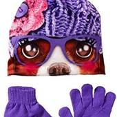 Комплект шапка с фотопринтом и перчатки Accessories 22. Флис. 4-6 лет. США.