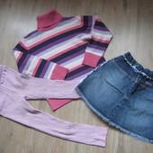 Тёплые вещи лосины свитер на девочку 4-5 лет