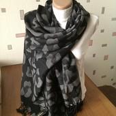 Теплый осенне зимний,красивый шарф палантин.30% шерсть 70% вискоза