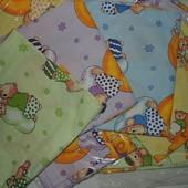 Детское постельное белье для садика 3в1, сатин, 110х140 см. расцветки в ассорт.