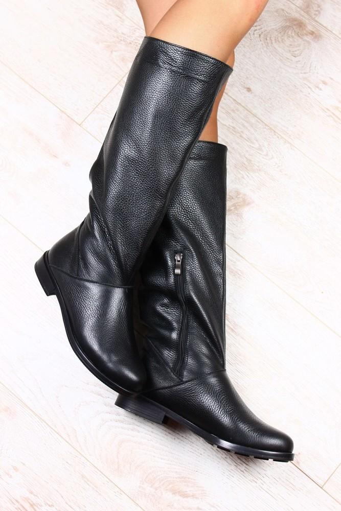 Сапоги женские кожаные черные без каблука со змейкой на низком ходу фото №1 5aed0e1b6b0