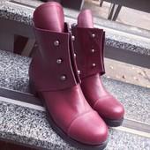 Зимние и деми сапоги сапожки Ботинки Hermes Болты. Натуральная кожа, внутри мех