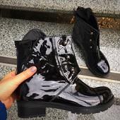 Зимние натуральные сапоги Ботинки Hermes Болты. Натуральный лак, утеплитель мех