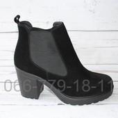 Скидка! 39 размер! Женские кожаные сапоги на каблучке, кожа и замша
