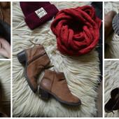 Натуральные нубуковые ботинки на осень, р-р 38