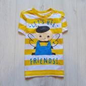Яркая футболка для мальчика. H&M. Размер 4-6 месяцев, будет дольше