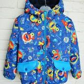 Куртка демисезонная Авиатор на флисовой подкладке 98, 104, 110,116 размер