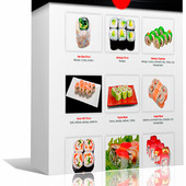 Интерактивная книга 70 разнообразных рецептов роллов на любой вкус.