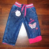 Теплые джинсы для девочки р. 3, 4 Маломерят
