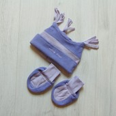 Новый флисовый комплект для новорожденного: шапочка + пинетки. Early Days. Размер one size