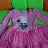 Нарядное платье с Peppa от 1-2 лет