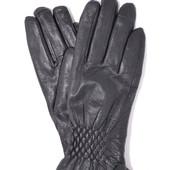 Женские кожаные зимние перчатки на меху кролика (мех искусственный)