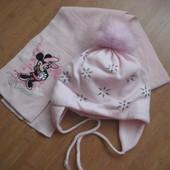 Зимняя шапка шарф набор комплект для девочки  50-52 Польша grans