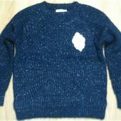 Синий свитер с блеском теплый