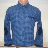 Мужская тёплая рубашка в клетку с налокотниками G-port, Турция. 2 цвета.