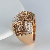 Позолоченное кольцо с австрийскими кристаллами код 249