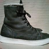 Высокие утепленные кожаные ботинки темно-серого цвета GiorGio 19544 р