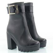 Женские зимние ботинки из натуральной кожи овчина кожа и замш