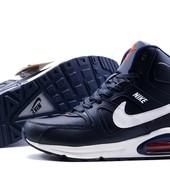 Кроссовки зимние Nike Air Max, р. 41-46, на меху, синий, черный, код kv-3128