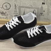 Лёгкие чёрные кроссовки. Распродажа