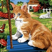 Картина по номерам Turbo Рыжий котик на качели VK115