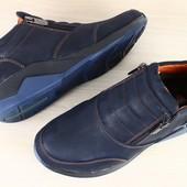 Ботинки мужские зимние на замках, синие на меху из натуральной кожи