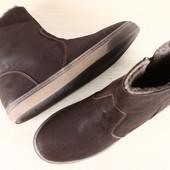 Мужские ботинки-сапоги, зимние, на меху, насыщенно-коричневые, из натурального нубука