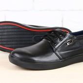 Мужские спортивные туфли черные кожаные на шнурках