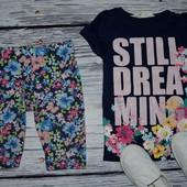 2 - 4 года 98 - 104 см H&M Крутая фирменная футболочка для стильной девочки надписи блестки
