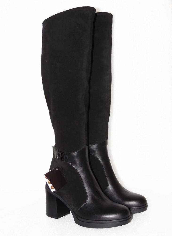 Зимние ботфорты, черного цвета фото №2